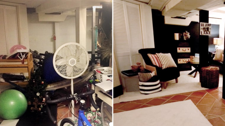 On the left is how the room looked before the makeover. On the right, how the room looks today!