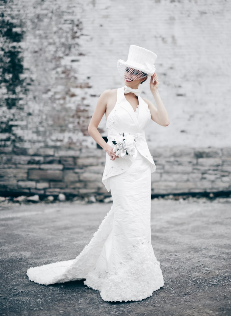 The winning dress in the toilet paper wedding gown contest.