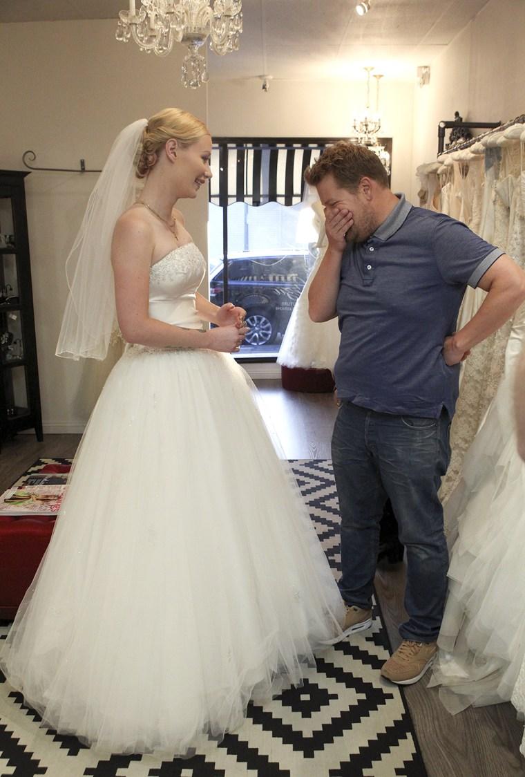 Iggy Azalea and James Cordon in wedding dresses