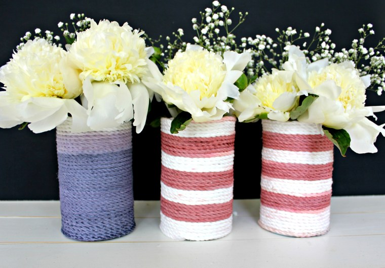Patriotic Rope-Wrapped Vases