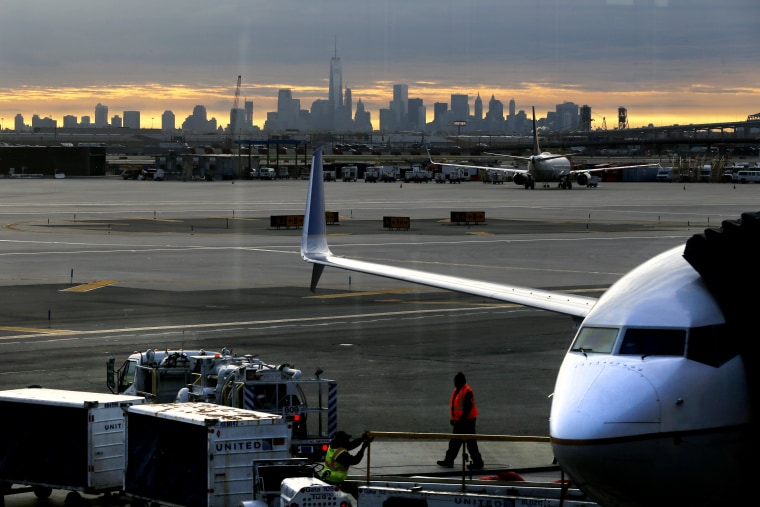 Image: A file photo showing a United jet parked at Newark Airport in May 2015.