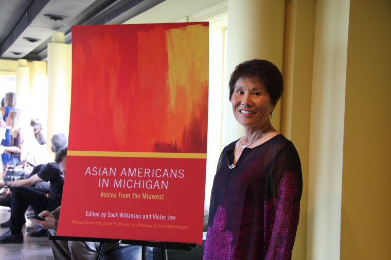 """Dr. Sook Wilkinson, Co-Editor with Victor Jew of """"Asian Americans in Michigan—Voices from the Midwest"""" and former chair of the Michigan Asian Pacific American Affairs Commission, at the Wayne State University Press book launch party last week in Detroit"""