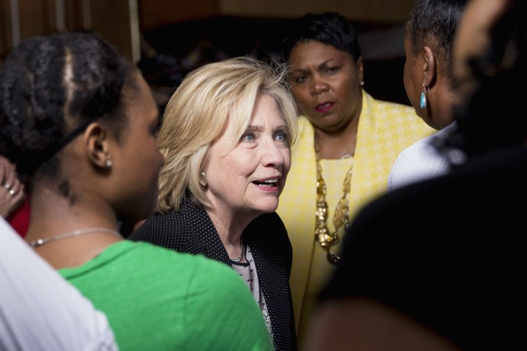 Image: Democratic Presidential Candidate Hillary Clinton Attends Community Meeting In Florissant, MO