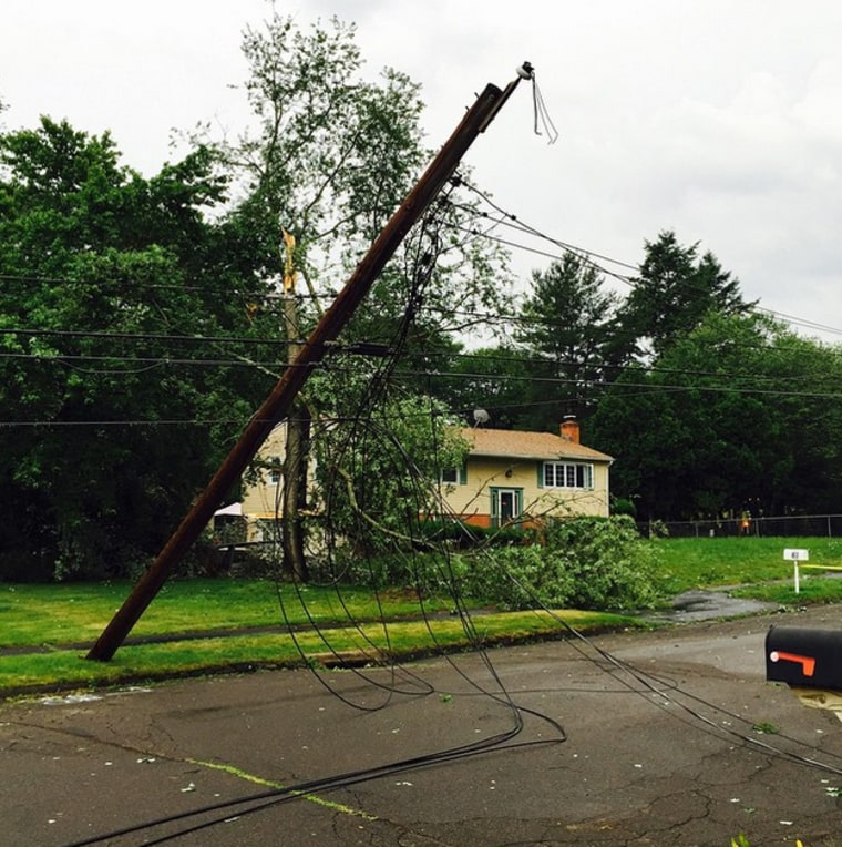 Image: Power lines damaged by weather in New Haven, Connecticut