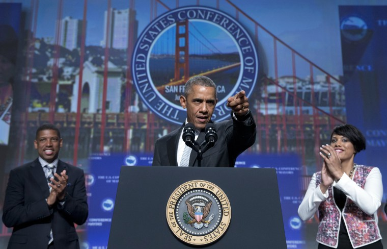 Image: Barack Obama, Kevin Johnson, Stephanie Rawlings-Blake