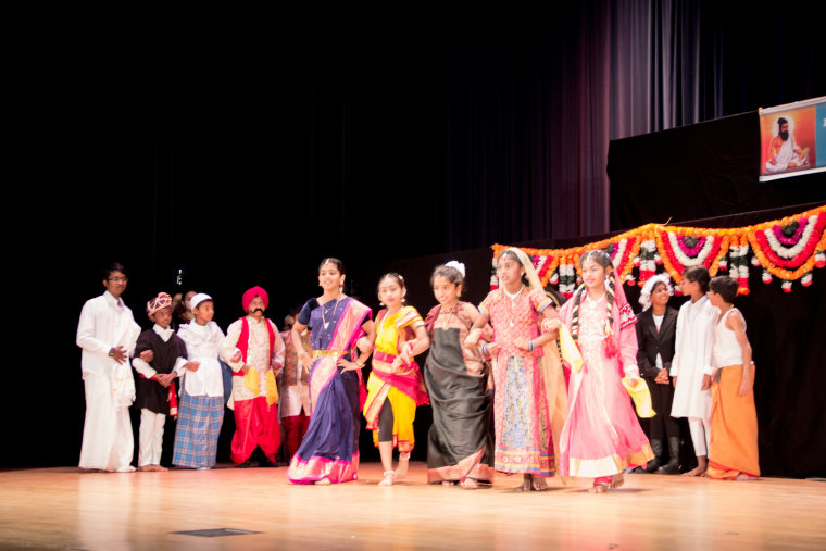 Students of Los Angeles Tamil School, an affiliate of California Tamil Academy, in cultural performances for their school's Annual Day