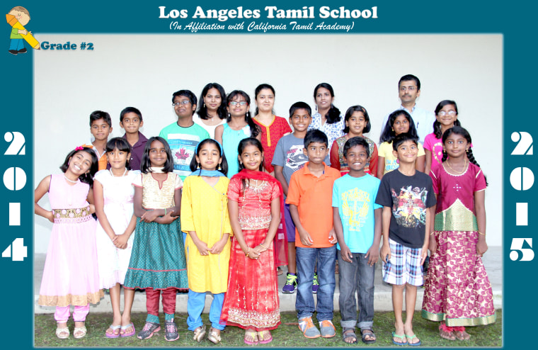 Grade 2 class picture of Los Angeles Tamil School, an affiliate of California Tamil Academy.