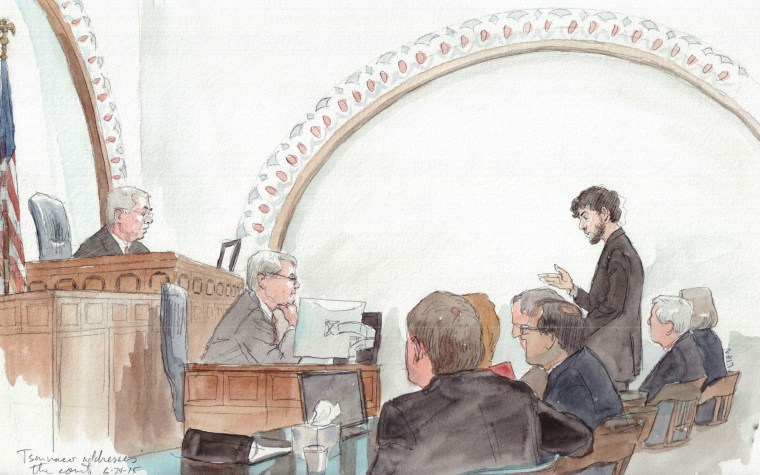 Boston Marathon bomber Dzhokhar Tsarnaev addresses the court at his sentencing hearing on June 24.