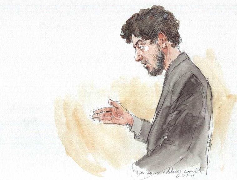 Image: Tsarnaev addresses court