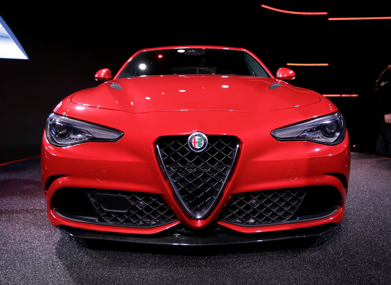 The new Alfa Romeo Giulia sedan is shown during the official presentation, in Arese, near Milan, Italy, Wednesday, June 24, 2015.