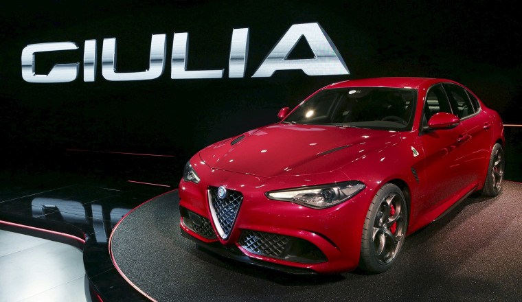 """Image: New Alfa Romeo """"Giulia"""" car is seen during the launch in Milan"""