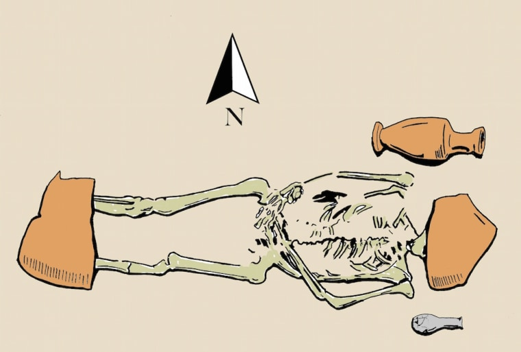 A reproduction of a sketch by Sicilian archaeologist Giovanni Di Stefano of one of the unusual burials. Notice the large amphora fragments on the individual's head and feet.