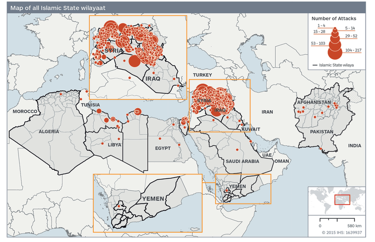 Image: Map showing ISIS and its affiliates
