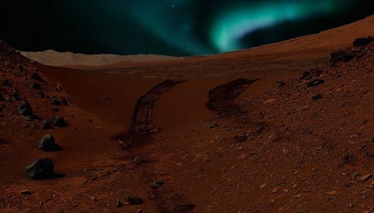 Image: Artist's rendering of auroras on Mars