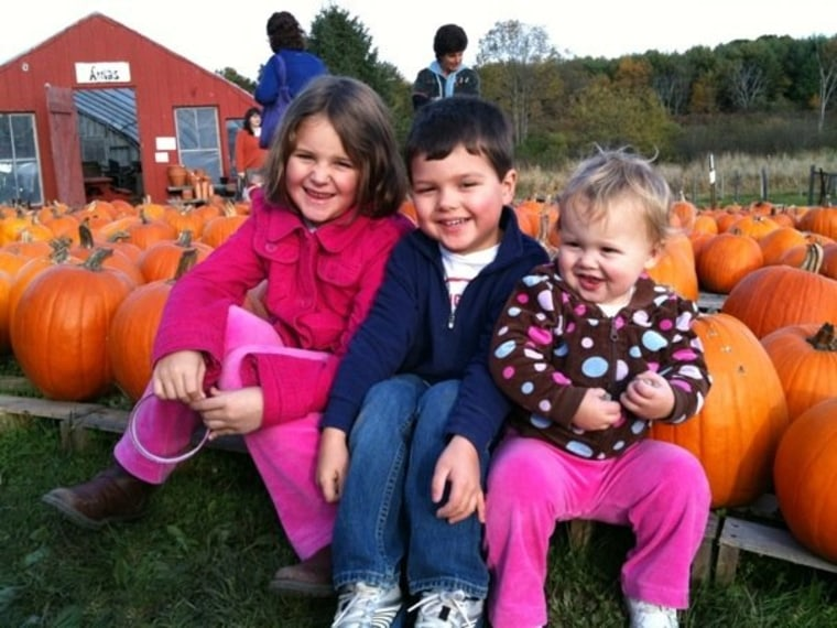 Pumpkin picking time: Catie, 8; Lia, 5; and Molly, 2.