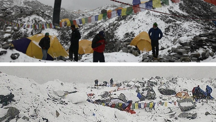 A view of Everest Base Camp before (top) and after (bottom) the avalanche hit, leaving 19 dead and more than 60 injured.
