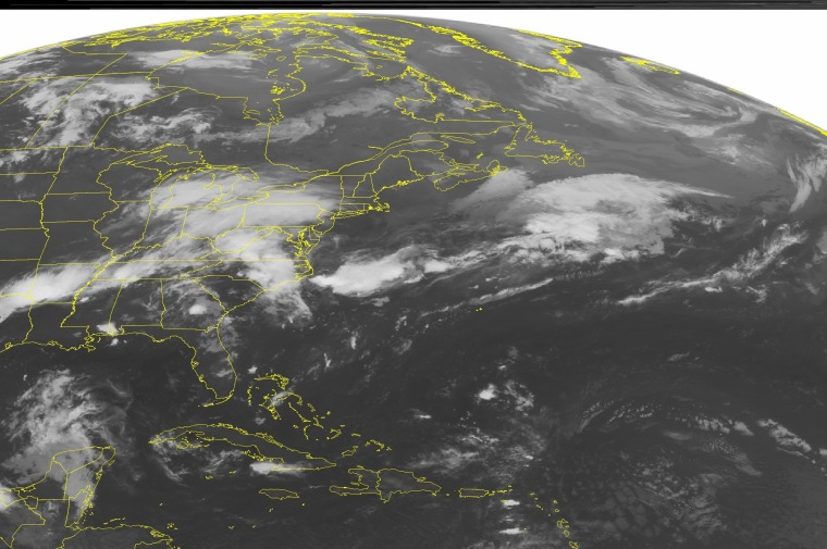 Image: This NOAA satellite image taken Saturday at 12:45 AM EDT shows the major developing low pressure system.