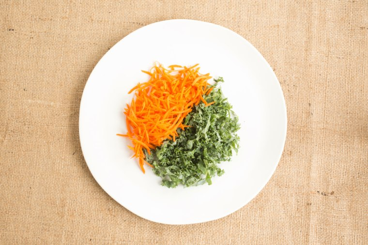Kale and carrots for tabbouleh