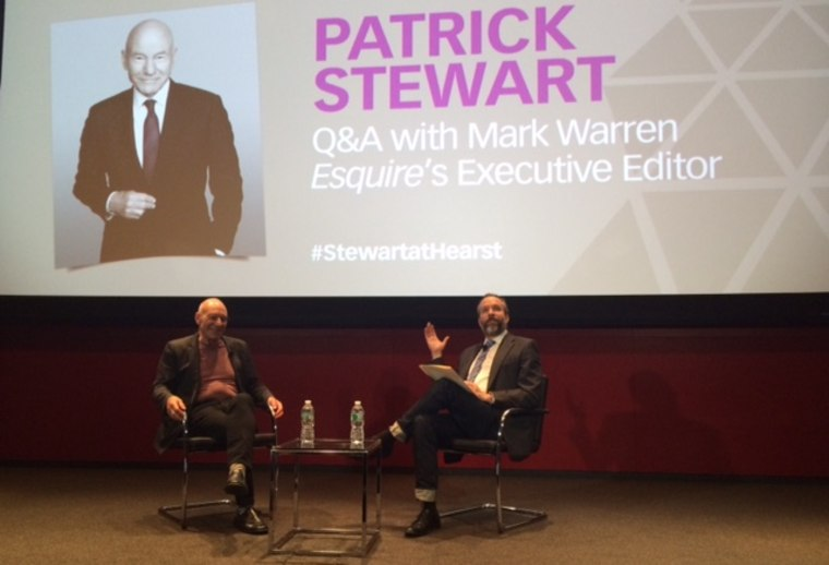 "For the Hearst Corporation's Master Class series, Esquire executive editor Mark Warren interviewed actor Patrick Stewart at an event leading up to the premiere of Stewart's new Starz series, ""Blunt Talk."""