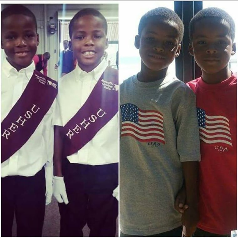 "Mom Kanisha Nikki George writes on Facebook, ""These are my identical 8 year old twin boys Ahmad and Ahmari. My family including myself still cannot tell them apart sometimes. My grandmother gets a black Sharpie and draws a big circle on the middle of ones forehead so she can tell them apart. They are very close yet fight all the time, everything is a competition!! They fight over everything from a who has more toothpaste on there toothbrush to who has more Frosted Mini Wheats in there bowl!!!! As soon as you separate the two they miss each other so much!"""