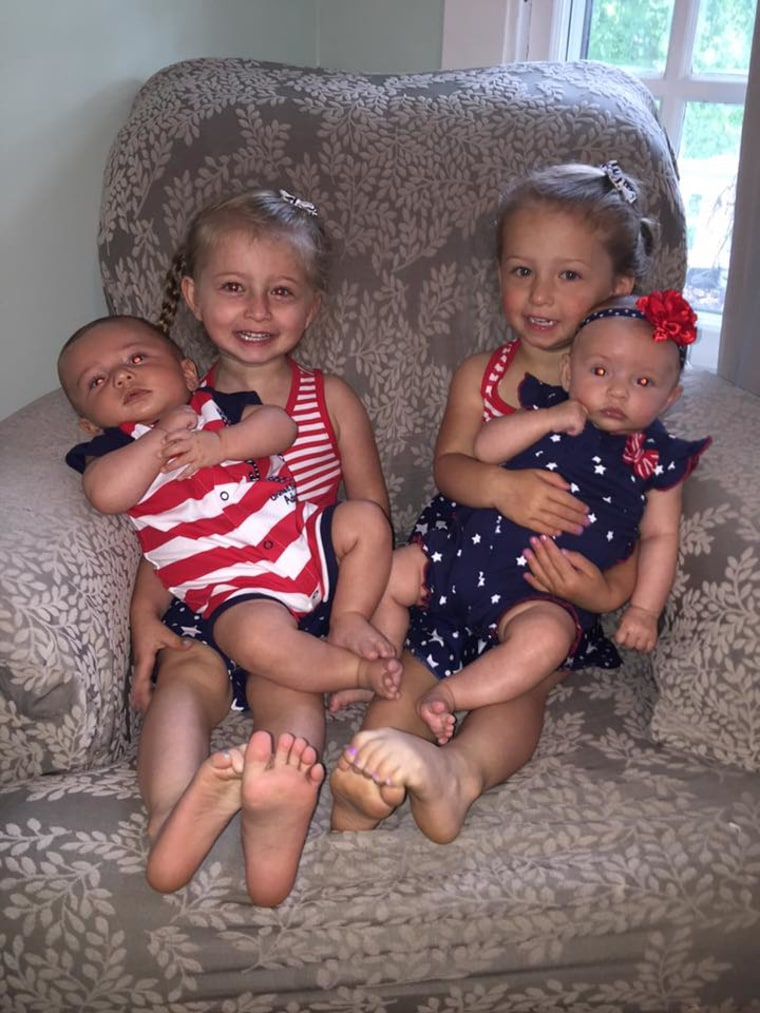 "Mom Kristan Levy writes on Facebook, ""Our two sets of twins were both surprise twins (no family history and no medication) and are only 2 years apart! All fraternal and love each other to the ends of the earth. Sharing is another story!"""