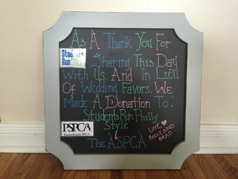 Becci and her husband Brad decided to honor their love of running charity marathons by donating to the Pennsylvania SPCA and Students Run Philly Style organizations.