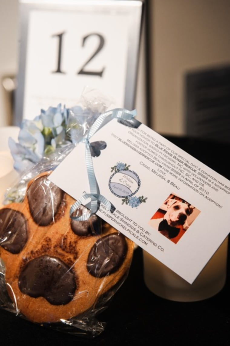 At Melissa Newman's wedding, she and her husband donated to an animal rescue organization in lieu of traditional party favors, and passed out cookies and information about the charity.
