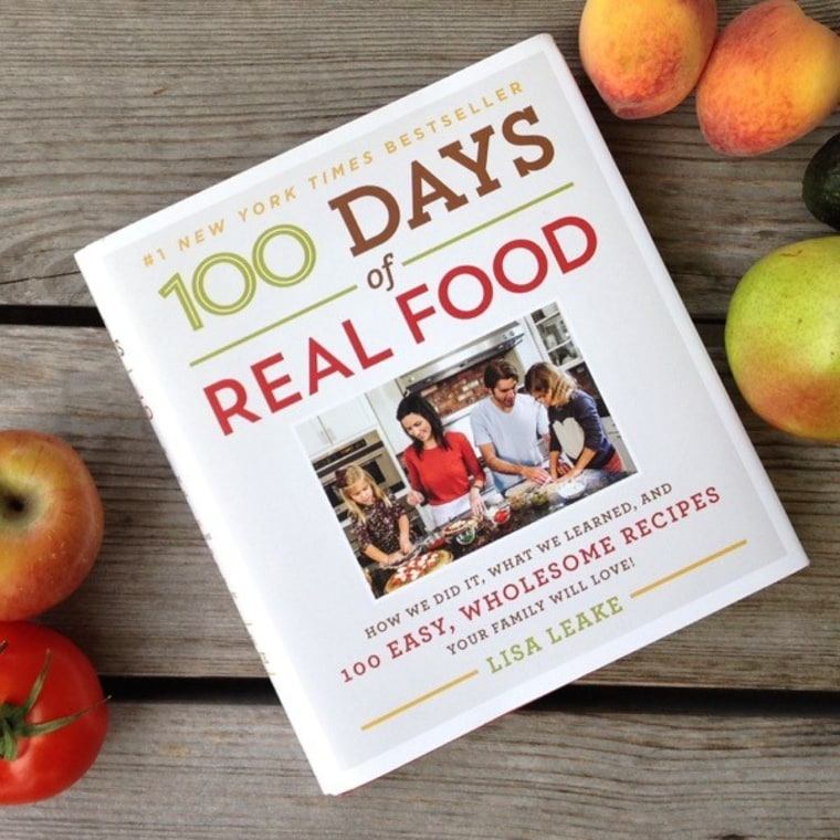 "Book cover for ""100 Days of Real Food"" by Lisa Leake."