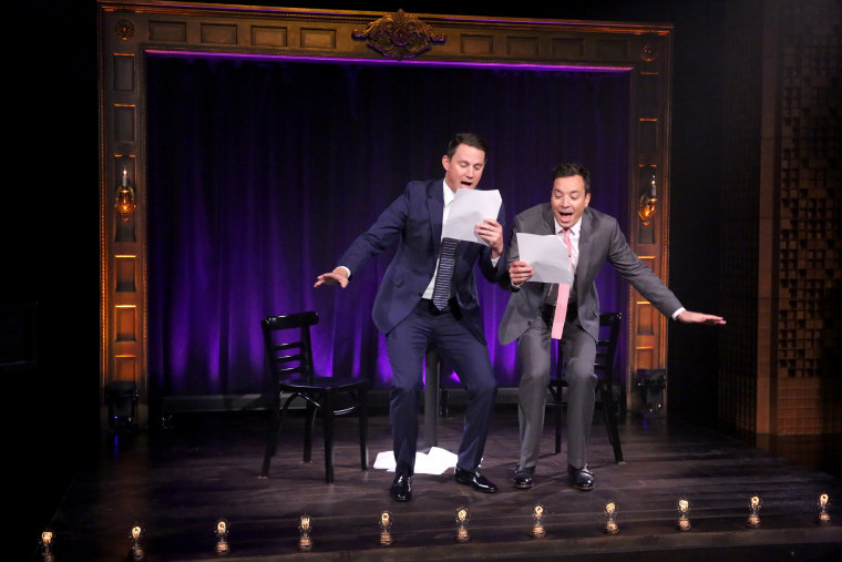 "Actor Channing Tatum and host Jimmy Fallon perform ""Kid Theater"" on June 23, 2015"