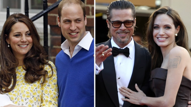 Britain's Prince William and Kate, Duchess of Cambridge with Brad Pitt and Angelina Jolie.