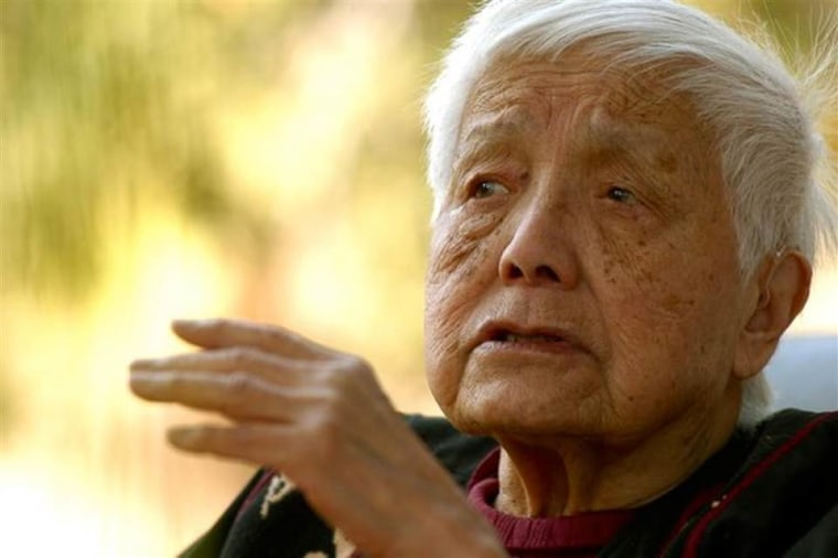 "Grace Lee Boggs is seen during an interview for her PBS documentary, ""American Revolutionary: The Evolution of Grace Lee Boggs."""