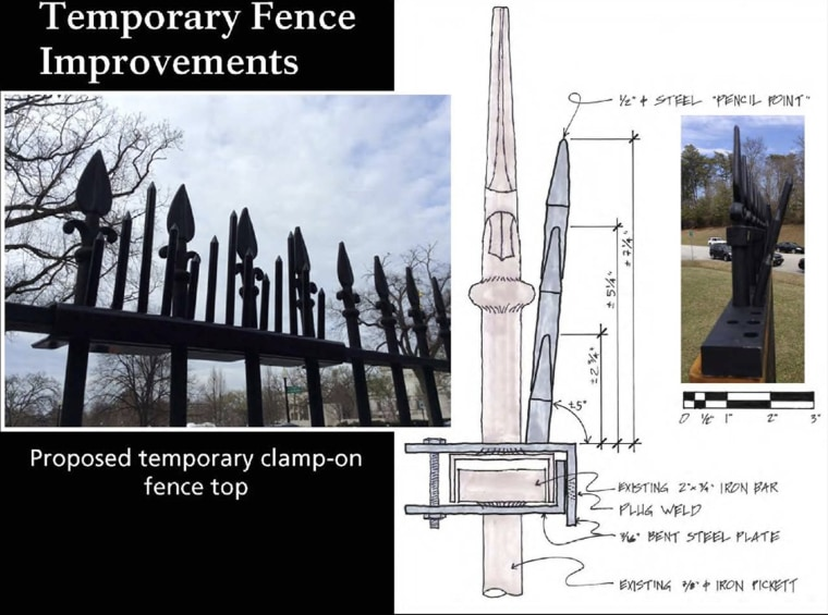 Image: Temporary White House fence spikes