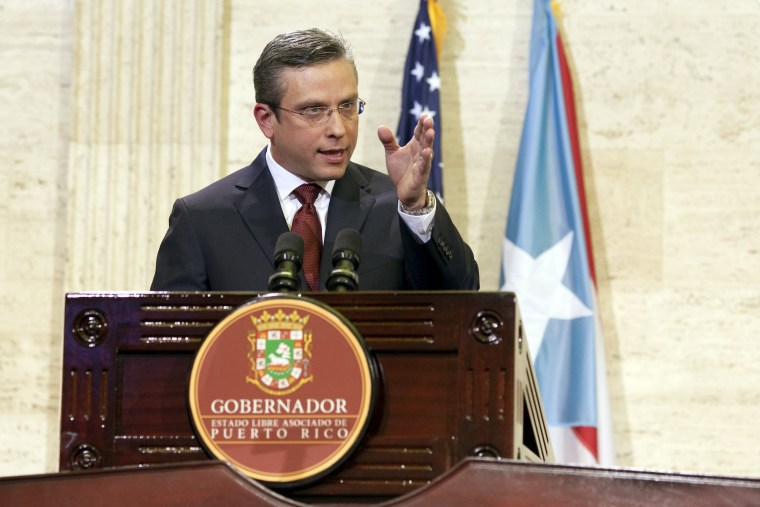 Image: Puerto Rico's Governor Padilla delivers his state of the Commonwealth address at the Capitol building in San Juan, Puerto Rico