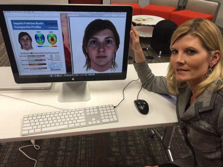 A composite created using DNA from NBC News' Kate Snow is seen next to Snow. The computer correctly identified her natural hair color as brown.