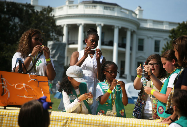 Image: Michelle Obama Hosts Girls Scouts At First-Ever White House Campout