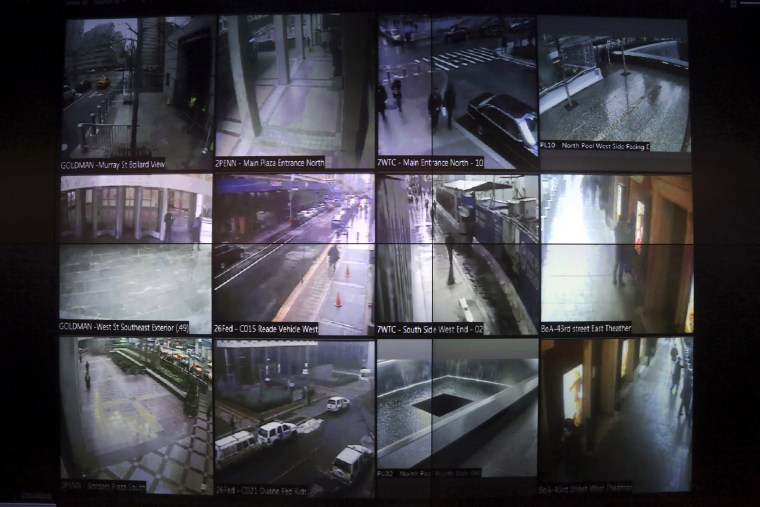A wall of surveillance camera video in New York.