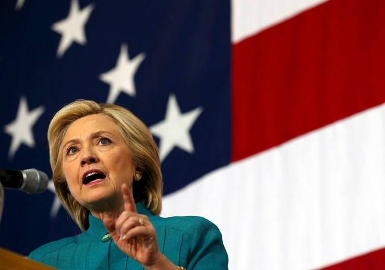 Image: File photo of U.S. Democratic presidential candidate Clinton speaking at a campaign event in Des Moines