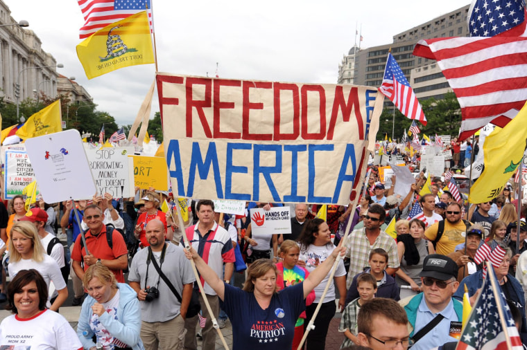Image: Thousands of people join a march and demonstration to protest health care reform proposed by US President Barack Obama