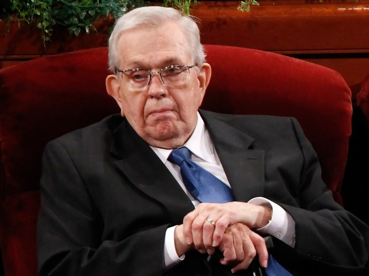 Image: Packer of The Church of Jesus Christ of Latter Day Saints attends Annual General Conference of the church in Salt Lake City