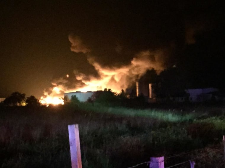 View of a fire at a chemical facility in Waller County, Texas, on July 4, 2015.