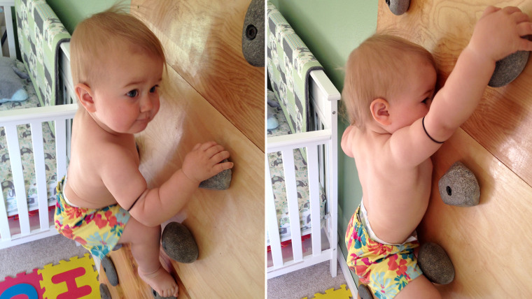 20-month-old Ellie Farmer is a rock climbing pro