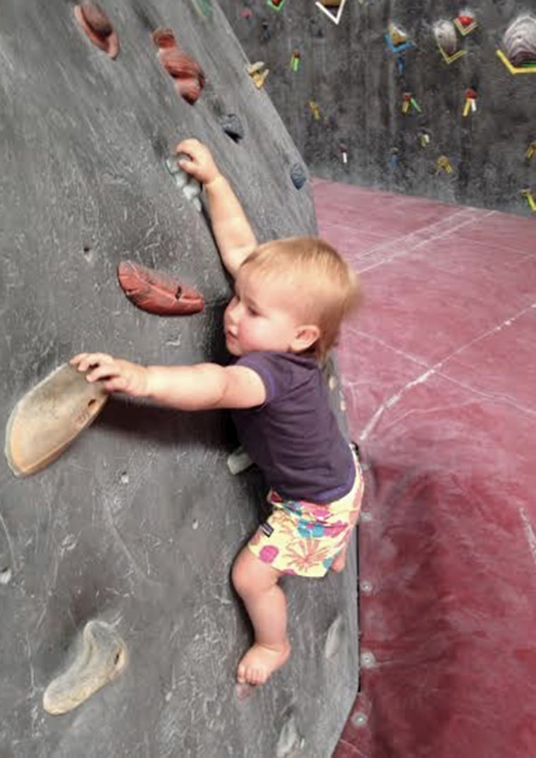 20-month-old Ellie Farmer is a rock climbing pro!