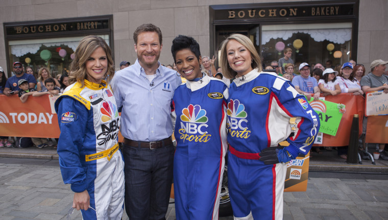 Dale Earnhardt and the TODAY Show anchors on the plaza.