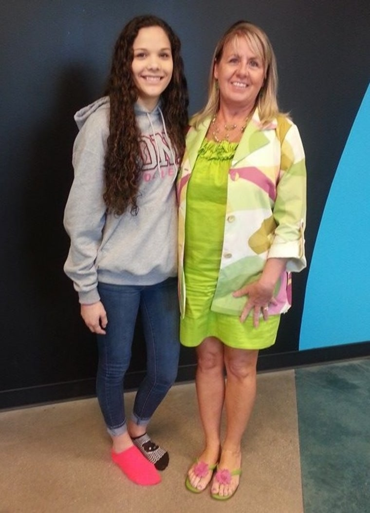 Elementary-school teacher JoAnn Schettig, right, volunteered to donate her kidney when she learned about the illness of her co-worker's daughter, Alex Brigantti, and wound up being a donor match, despite unlikely odds.