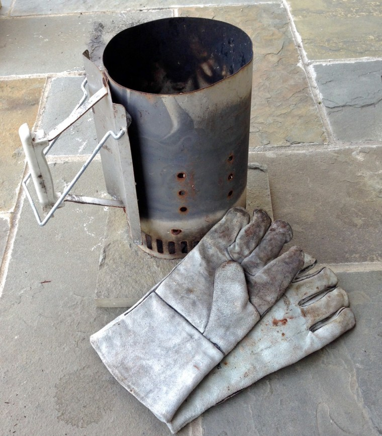 Charcoal  chimney and leather gloves