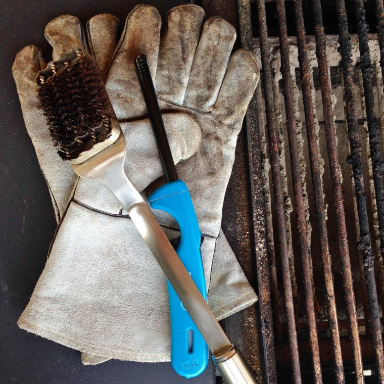 Grill gloves, grill brush and grill lighter