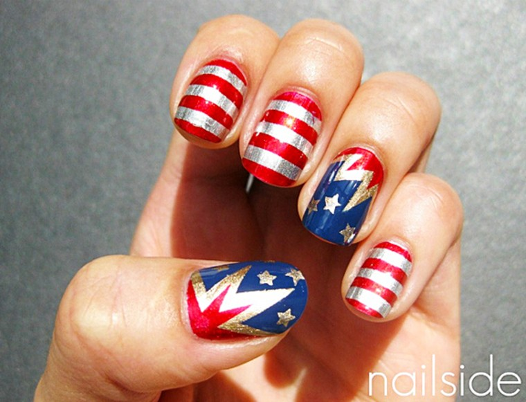 Fourth Of July Nail Art Ideas Red White And Sparkle