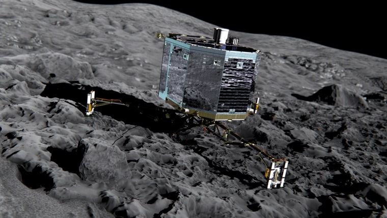 Image: Artists impression of Rosetta's lander Philae (front view) on the surface of comet 67P/Churyumov-Gerasimenko