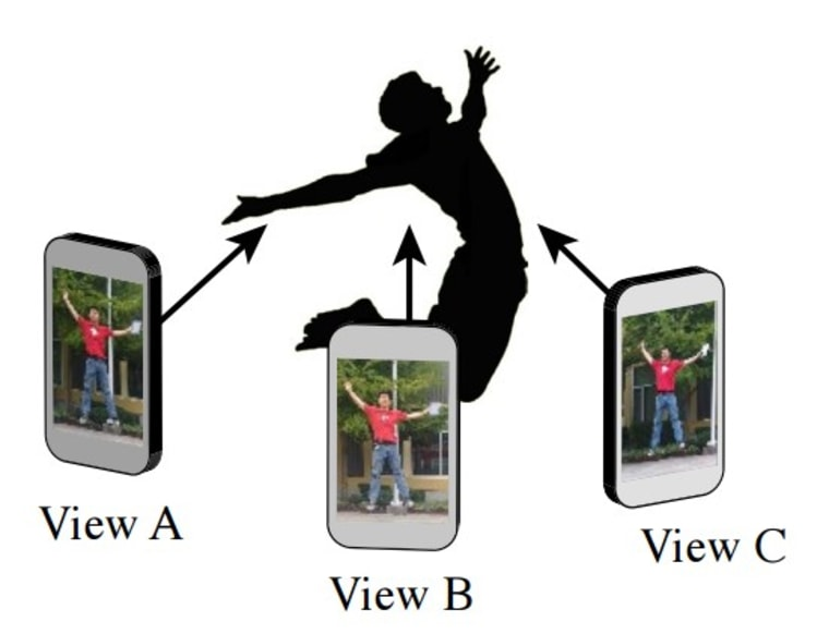"""Illustration showing how several views of a subject can be captured at the same time to create a """"bullet time"""" video."""