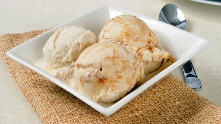 vanilla ice cream with caramel swirls